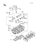 KAWASAKI, ZX600-C1 1988,ZX600-C2 1989,ZX600-C3 1990, ZYLINDERKOPF